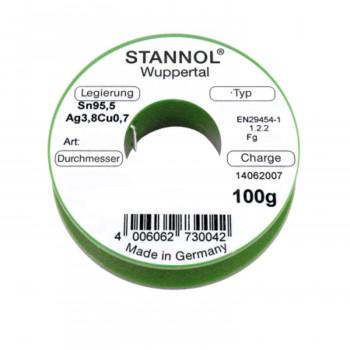 Stannol Lötdraht ECOLOY HS10 2500 TSC, Sn95,5Ag3,8Cu0,7, 1,0 mm, 2,5 %, 100 g