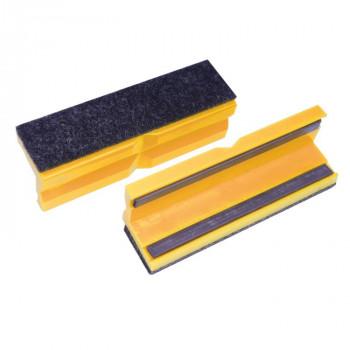 Bernstein Schonbacken mit Filzbelag, gelb, 125 mm (Paar)