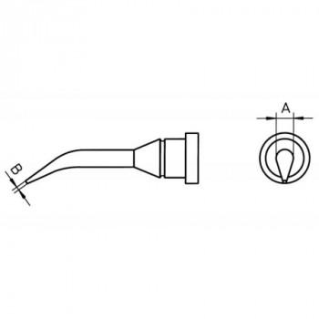 Weller Lötspitze LT 1SLX, 0,4 mm, Rundform schlank, gebogen 30°