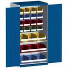 bott cubio Systemschrank mit Flügeltüren + 60 Sichtlagerkästen, Perfo®-Lochung, 2 Fachböden, 1050 x 650 x 2000 mm