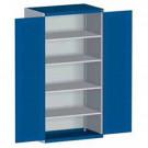 bott cubio Systemschrank mit Flügeltüren + Perfo®-Schlitzprägung, 4 Fachböden, 1050 x 650 x 2000 mm