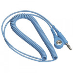 ESD Spiralkabel 7 mm Druckknopf/Bananenstecker hellblau