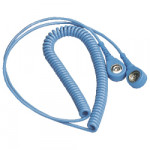 ESD Spiralkabel 10/10 mm Druckknopf, 2,4 m, hellblau