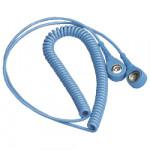 ESD Spiralkabel 7/10 mm Druckknopf, 2,4 m, hellblau