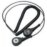 ESD Mini-Spiralkabel 3 mm Druckknopf/Bananenstecker, schwarz