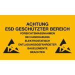 ESD Folien-Warnschild für ESD-Arbeitsplätze 150 x 300 mm
