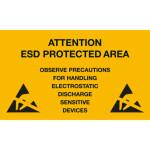 ESD Folien-Warnschild für ESD-Arbeitsplätze 150 x 300 mm, englisch