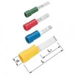 Elpress Flachstiftkabelschuhe isoliert A1529SFN 0,5-1,5 mm² rot m. Nase (100 Stück)