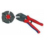 Knipex Crimp-Hebelzange MultiCrimp 97 33 01 mit Schnellwechselmagazin + 3 Wechseleinsätzen