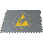 ESD-Bodenpuzzle Fliese Ecostat-DF Puzzle 6.0, mit Logo, 635 x 635 x 6 mm
