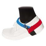 ESD Dauerfersenband mit Klettverschluss, schwarz/blau/rot