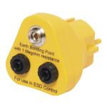 ESD Erdungsbaustein 1 x 10 mm Druckknopf/2 x 4 mm Sicherheitsbuchse