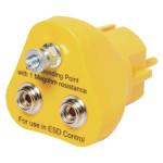 ESD Erdungsbaustein 2 x 10 mm Druckknopf/1 x Schraubanschluss für 4 mm Öse