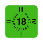 """ESD Folien-Fälligkeitsaufkleber """"2018"""" für ESD-Arbeitsplätze, englisch, 15 x 15 mm (30 Stück)"""