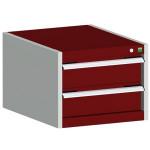 bott cubio Schubladenschrank SL 554-2.1, 2 Schubladen, 525 x 525 x 400 mm, purpurrot