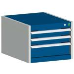 bott cubio Schubladenschrank SL 554-3.5, 3 Schubladen, 525 x 525 x 400 mm, enzianblau