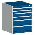 bott cubio Schubladenschrank SL 668-6.1, 6 Schubladen, 650 x 650 x 800 mm, enzianblau