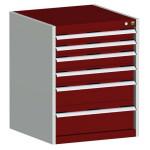 bott cubio Schubladenschrank SL 668-6.1, 6 Schubladen, 650 x 650 x 800 mm, purpurrot